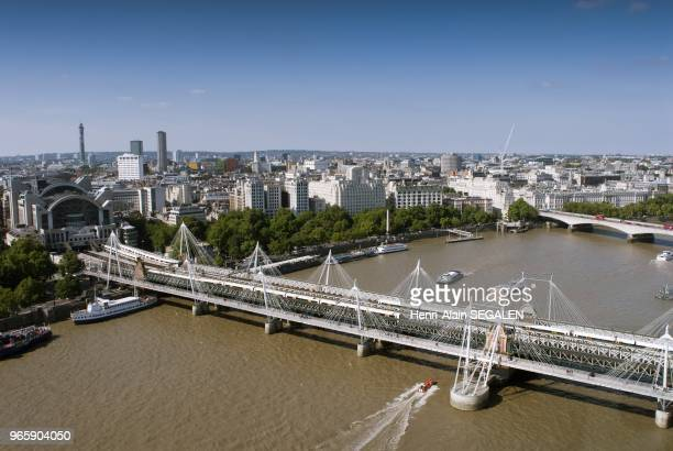 The River Thames Charing Cross Station And The Hungerford Foot Bridge View From The London Eye