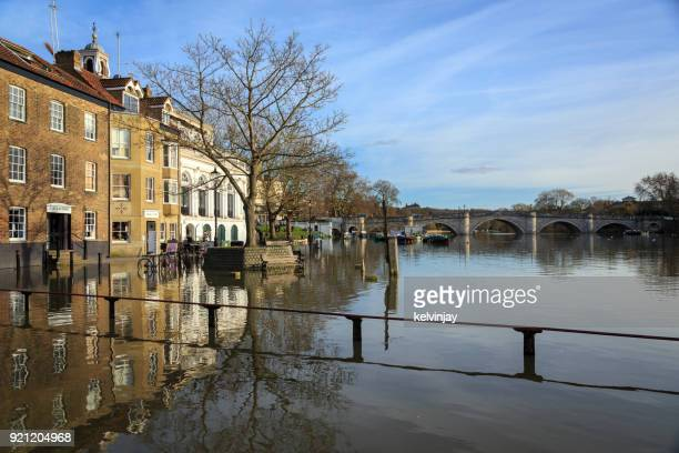 The River Thames in Richmond, West London, flooding the riverbank