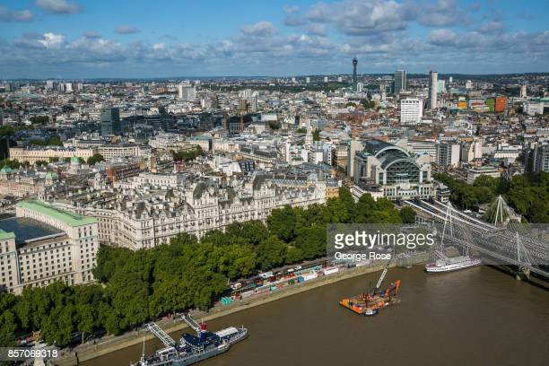 The River Thames Victoria Embankment and Charing Cross Station is viewed from the London Eye on September 13 in London England Great Britain's move...