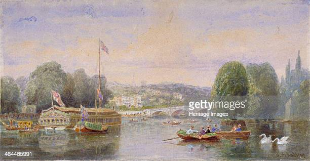 The River Thames with Richmond Bridge and Richmond Hill in the distance London 1867 View showing boats and barges on the water Richmond is now in the...