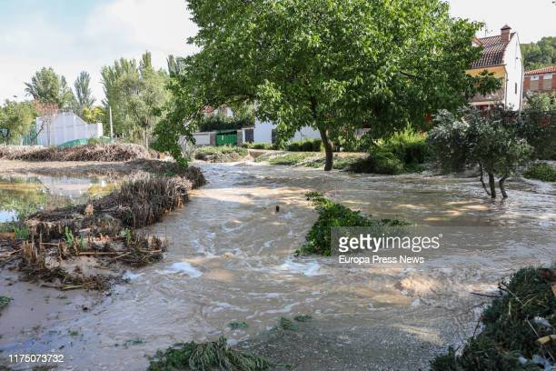 The River Vega overflows afterthe heavy rains and storms in the village on September 16, 2019 in Villar Del Olmo, near Madrid, Spain.