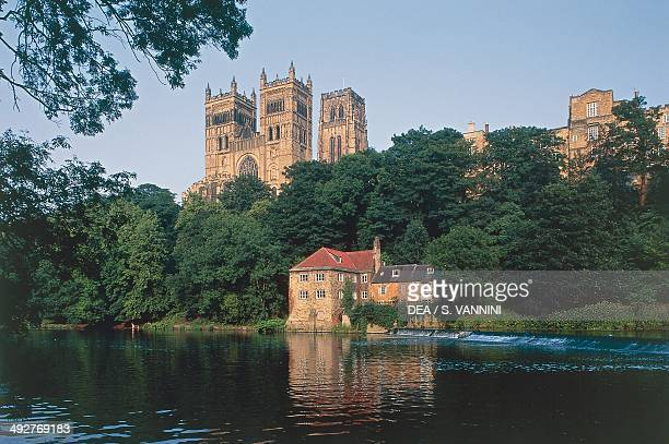 The River Wear and Durham Cathedral founded in 1093 England United Kingdom
