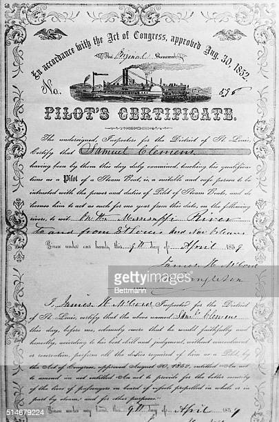 The riverboat pilot's license of Mark Twain Mark Twain born Samuel Clemens was one of the premier writers in American history He is known for many...