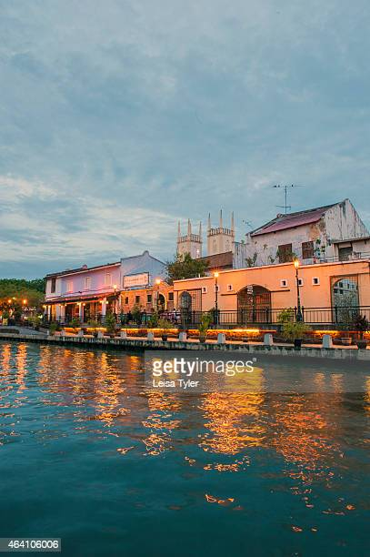 The riverfront in Malacca the World Heritage listed settlement of rickety churches and rows of Chinese shop houses flanking the Straits of Malacca...