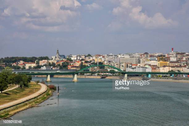 The rivers Sava and Danube along the riverside in Belgrade the largest city and capital of Serbia on 21th August 2018 The two rivers merge at the...