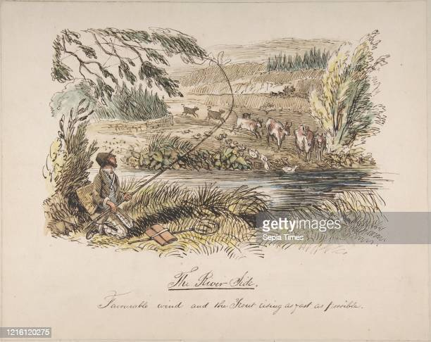 The Riverside, Favourable Wind and the Trout Rising as Fast as Possible', 1830-64, Watercolor, pen and brown ink over graphite, sheet: 10 1/4 x 12...