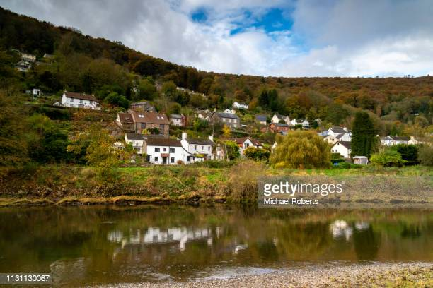 the riverside village of llandogo on the river wye in the wye valley aonb near tintern, wales - valley stock pictures, royalty-free photos & images