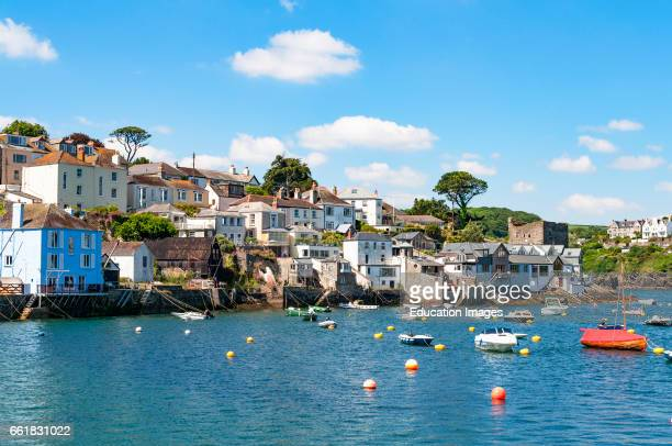 the riverside village of polruan along the river fowey in Cornwall England UK