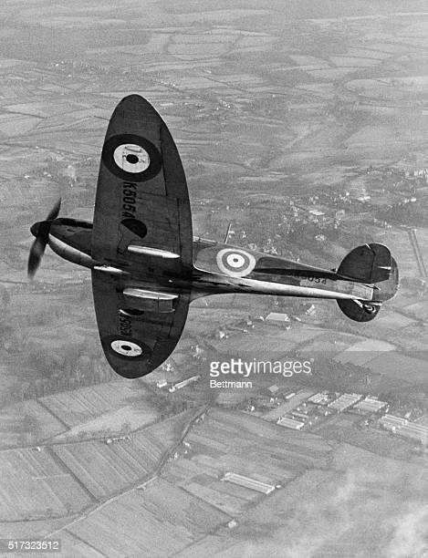 The RJ Mitchell designed Supermarine Type 300 Prototype Spitfire interceptor fighter registration K5054 starts to bank into a turn over the English...