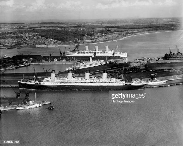 The RMS 'Olympic' in White Star dock 44 Southampton Hampshire 1933 A sister ship of the 'Titanic' 'Olympic' was built by Harland Wolff in Belfast and...