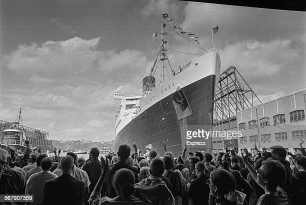 The RMS Queen Mary ocean liner leaving America after her last voyage New York City 21st September 1967