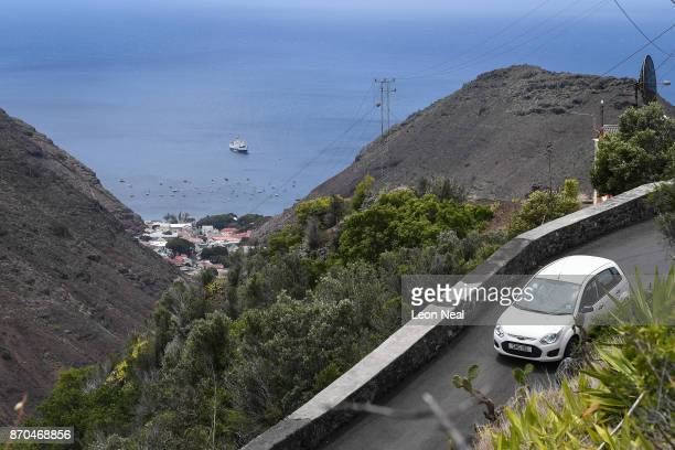 The RMS St Helena is seen in the harbour on October 26 2017 in Jamestown Saint Helena Following the introduction of weekly flights to the island...