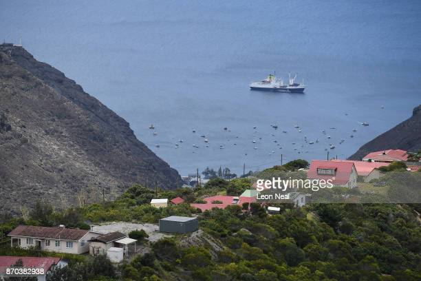 The RMS 'St Helena' sails in the harbour on October 26 2017 in Jamestown Saint Helena Following the introduction of weekly flights to the island...