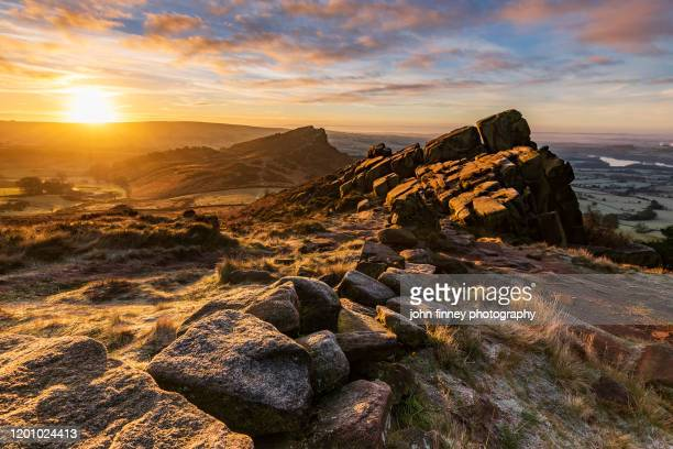 the roaches at sunrise near leek in the peak district national park. uk. - january stock pictures, royalty-free photos & images
