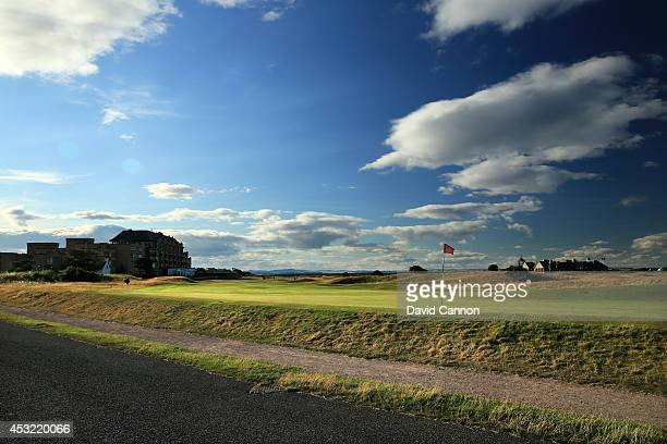 The road and wall behind the green on the 495 yards par 4, 17th hole 'Road' on the Old Course at St Andrews venue for The Open Championship in 2015,...