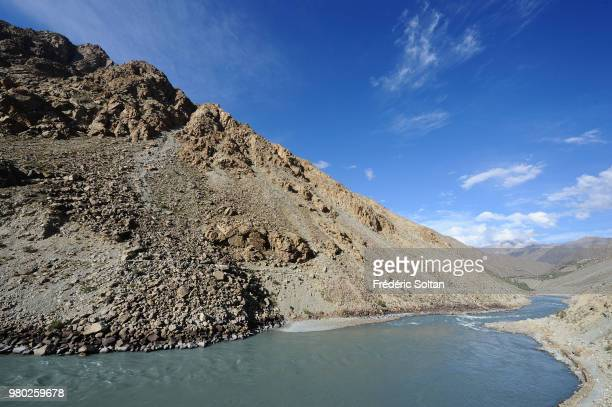 The road between Srinagar to Kargil along the border with Pakistan river Indus in Kashmir on July 07 India