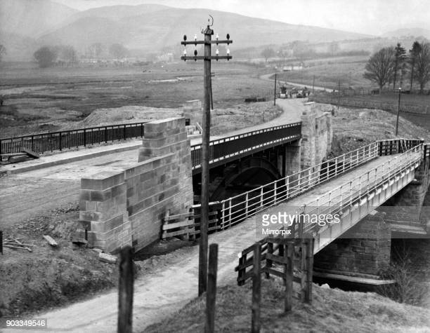 The road improvement scheme near Alwinton which shows the new bridge alongside the old on the road between Harbottle and Alwinton 10th March 1938