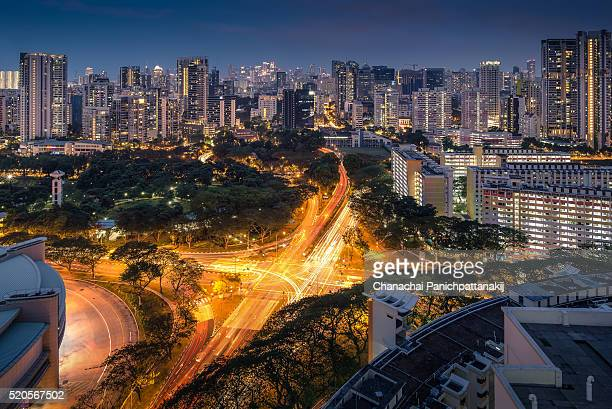 the road intersection and city skyline in toa payoh district, singapore - シンガポール市 ストックフォトと画像