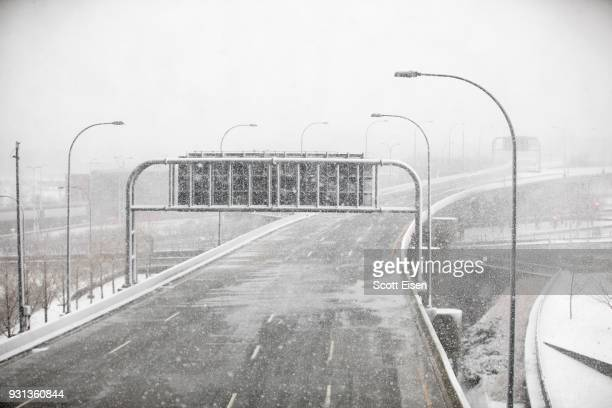 The road into Logan International Airport is empty as Winter Storm Skylar bears down on March 13 2018 in Boston Massachusetts