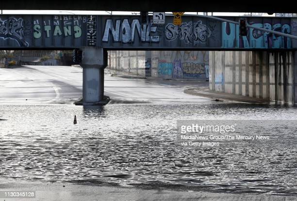 The road is closed on 7th Street at Frontage Road after flooding in West Oakland Calif on Thursday Feb 14 2019