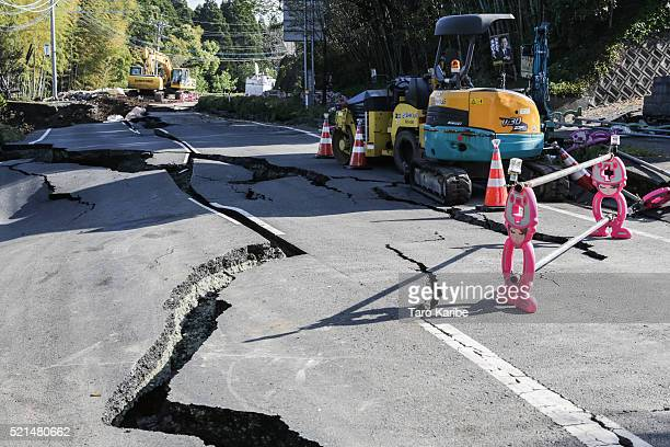The road is terriblly distructed by the earth quake on April 16 2016 in Kumamoto Japan Following a 64 magnitude earthquake on April 14th the Kumamoto...