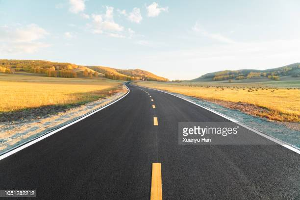 the road of autumn - thoroughfare stock photos and pictures