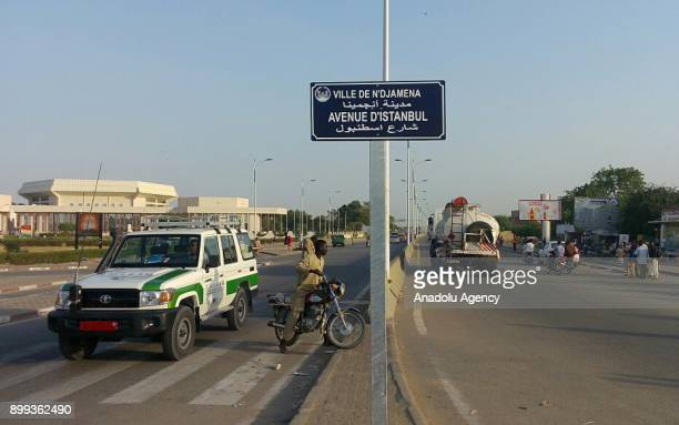 N'DJAMENA CHAD DECEMBER 28 The road sign shows the street name that renamed as Istanbul Street in Ndjamena Chad on December 28 2017 Chad has renamed...