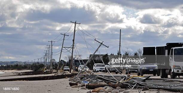 The road through Asharoken to Eatons Neck reopens two days after Hurricane Sandy flooded the area. The highest recorded winds in New York hit Eatons...