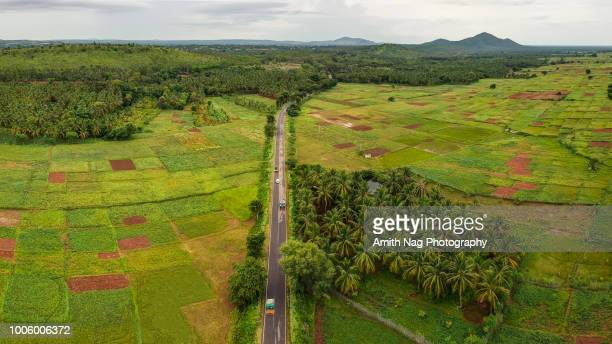 the road through the countryside - karnataka stock pictures, royalty-free photos & images