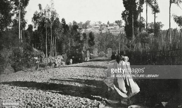 The road to Addis Ababa with the Ghebi in the background Ethiopia from l'Illustrazione Italiana Year XLV No 34 August 25 1918
