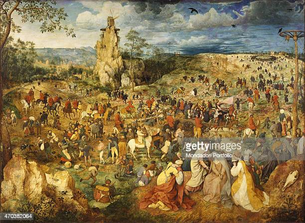 The Road to Calvary by Pieter Bruegel the Elder 16th century oil on panel 124 x 170 cm Austria Vienna Kunsthistorisches Museum Whole artwork view In...