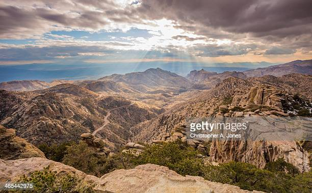 the road to mt. lemmon - mt lemmon stock photos and pictures