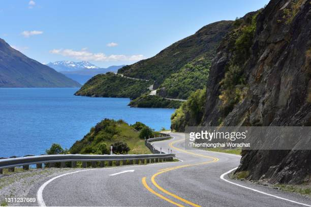 the road to queenstown (southern scenic route) - otago stock pictures, royalty-free photos & images
