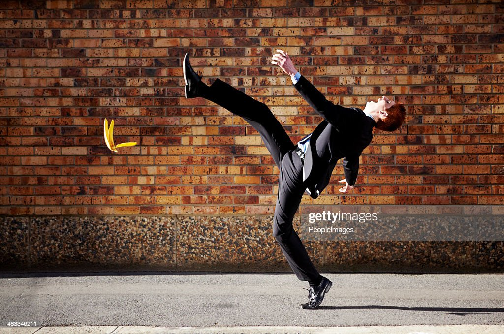 The road to success is a slippery one at best : Stock Photo