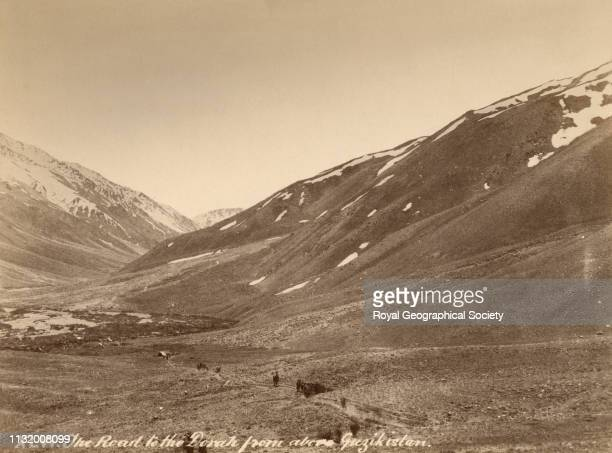 The road to the Dorah from above Guzikistan, North West Frontier, Gilgit Mission of Col. W.S.A. Lockhart and Col. R.G. Woodthorpe, 1885. Photographer...