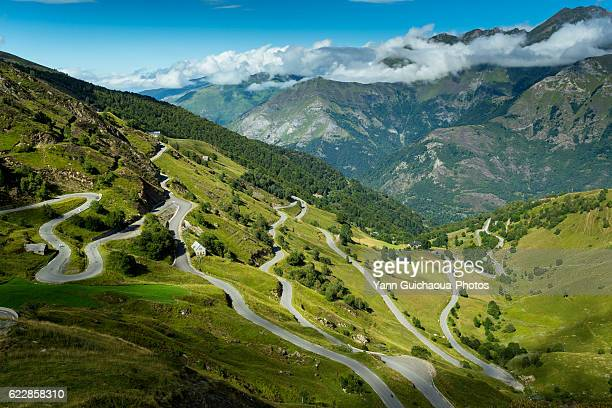 the road up to luz ardiden, hautes pyrenees, france - hautes pyrenees stock pictures, royalty-free photos & images