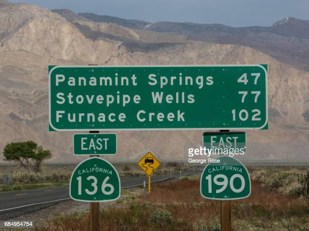 The roads to Death Valley and Furnace Creek viewed from Highway 395 on April 6 in Lone Pine California Owens Valley is an arid valley in eastern...