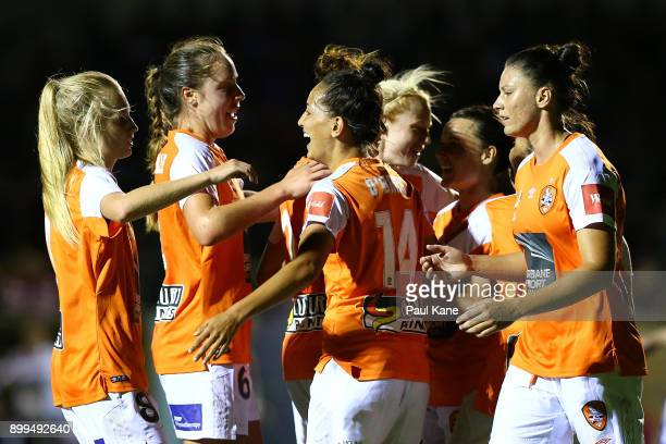 The Roar celebrate a goal during the round nine WLeague match between the Perth Glory and Brisbane Roar at Dorrien Gardens on December 29 2017 in...