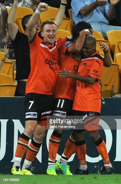 The Roar celebrates the goal of Issey Nakajima-Farran during the round eight A-League match between the Brisbane Roar and the Perth Glory at Suncorp...