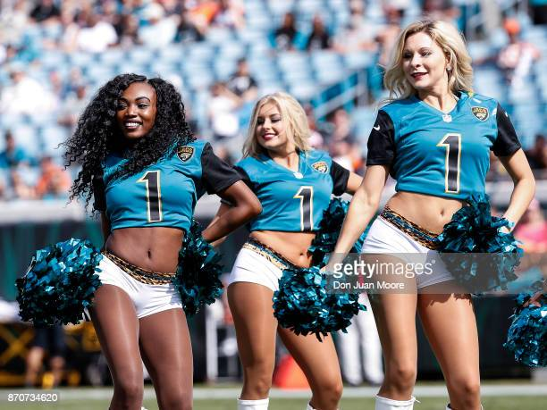The ROAR Cheerleaders of the Jacksonville Jaguars performs before the start of the game against the Cincinnati Bengals at EverBank Field on November...