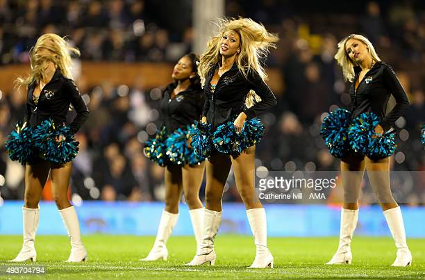 The Roar of the Jags cheerleaders for the Jacksonville Jaguars NFL team perform before the Sky Bet Championship match between Fulham and Leeds United...