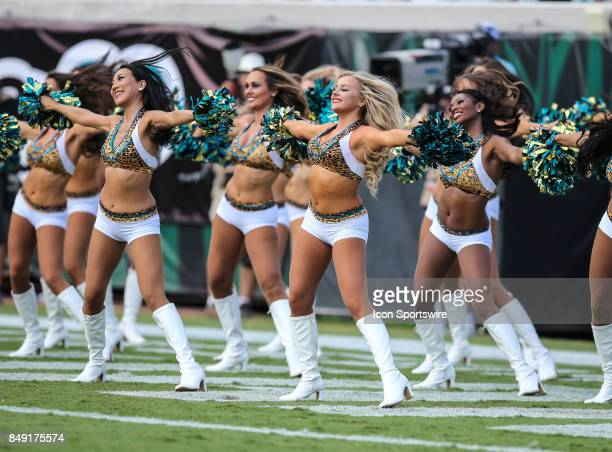The Roar the Jacksonville Jaguars cheerleaders perform during the game between the Tennessee Titans and the Jacksonville Jaguars on September 17 2017...