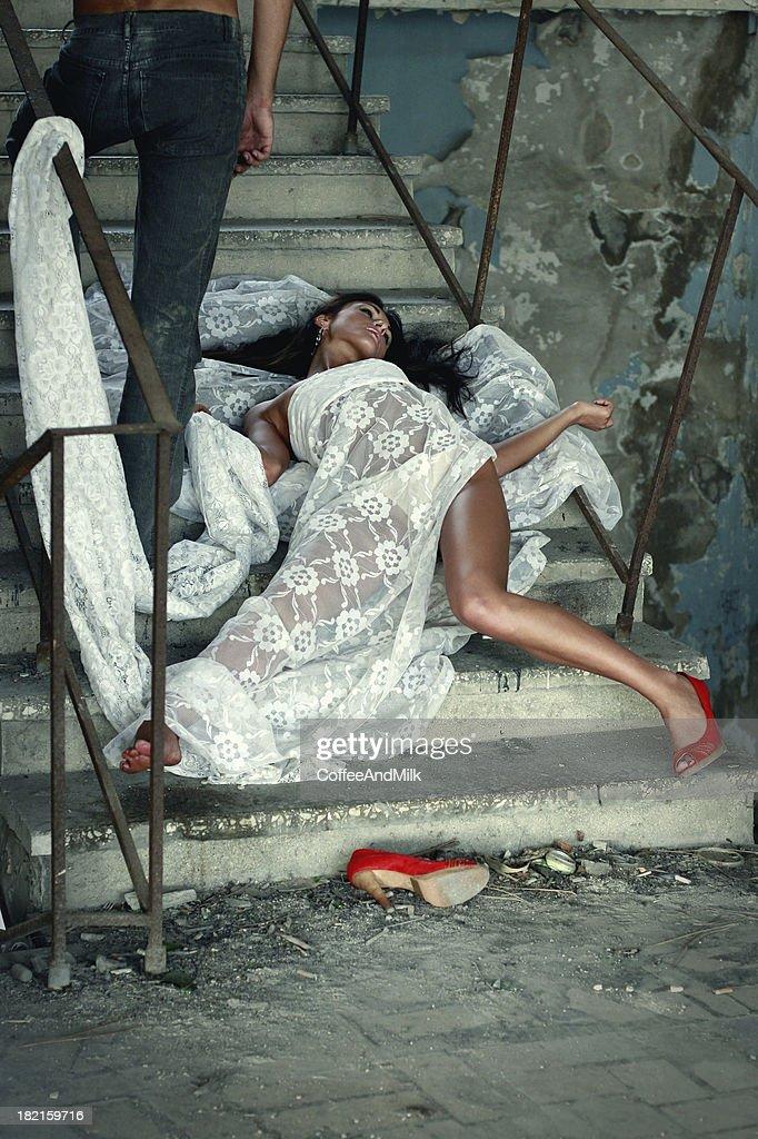 Ladrón de la víctima y el glamour : Foto de stock