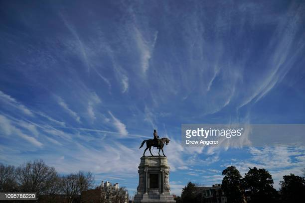 The Robert E Lee Monument stands on Monument Avenue February 8 2019 in Richmond Virginia Virginia state politics are in a state of upheaval with...