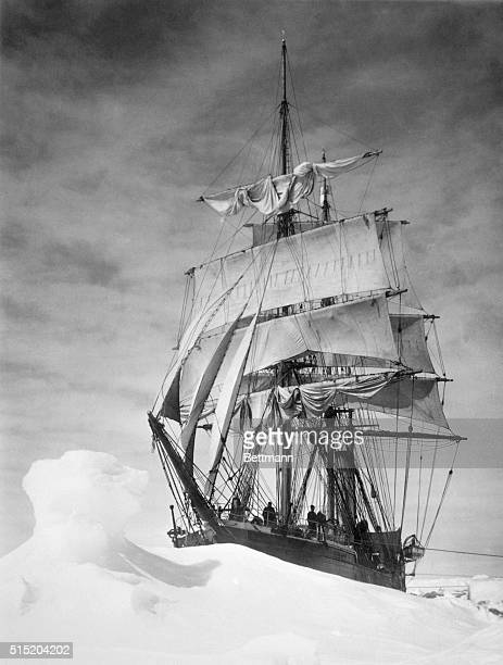The Robert Falcon Scott Expedition the Terra Nova in an ice pack while trying to reach the South Pole Photograph by HG Pointing Ca 1910