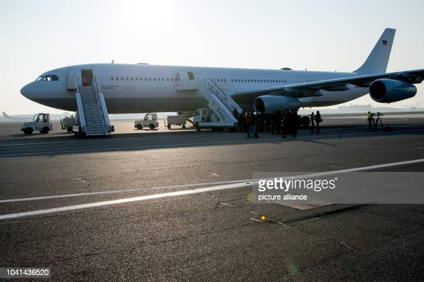 The 'Robert Koch' evacuation plane at Tegel Airport in Berlin Germany 27 November 2014 The Airbus A340 has an isolation unit for highly infectious...