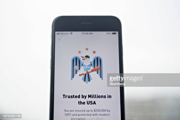 The Robinhood application is displayed on an Apple Inc iPhone in an arranged photograph taken in Washington DC US on Friday Dec 14 2018 The...