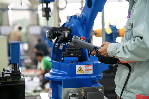 The robot for metal handing sheet metal in forming process .modern factory for industrial manufacturing process - gettyimageskorea