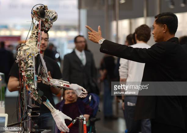 The robot 'OSA' is on display at the Maxon Motor AG booth at the Hannover Messe in Hanover Germany 08April 2013 Around 6500 companies are taking...
