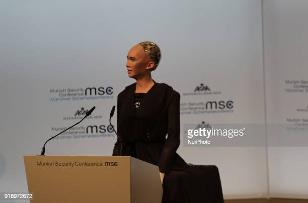 The robot Sophia talked to the people to symbolise artificial intelligence Today the first panel of the Munich Security Conference was held Estonia's...